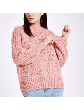 Pink Knit Round Neck Embellished Jumper by River Island
