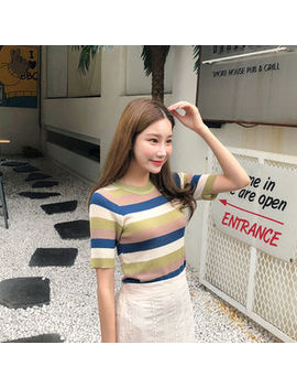 Cherryville   Short Sleeve Color Block Knit Top by Cherryville