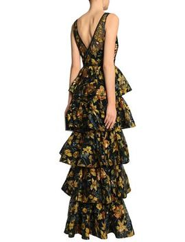 Tiered Embroidered Tulle Gown by Marchesa Notte