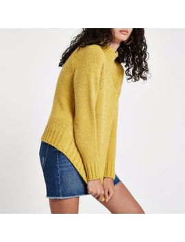 Yellow High Neck Chunky Knit Jumper by River Island