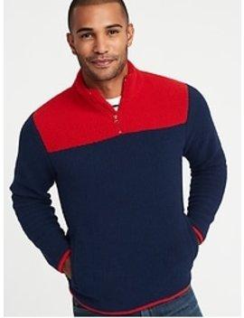 Color Blocked 1/4 Zip Sherpa Popover For Men by Old Navy