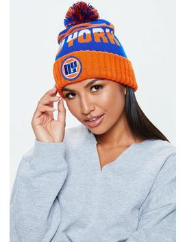 Orange New York Colour Block Bobble Hat by Missguided