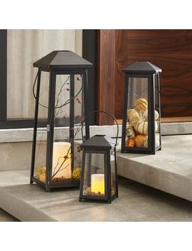 Petaluma Large Black Metal Lantern by Crate&Barrel