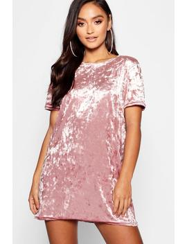 Petite Crushed Velvet T Shirt Dress by Boohoo