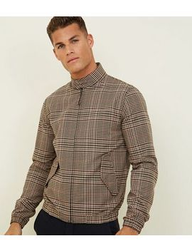 Brown Check Harrington Jacket by New Look