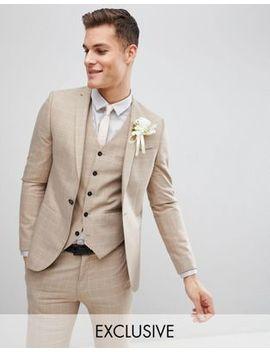 Noak Skinny Wedding Suit Jacket In Windowpane Check by Noak