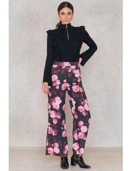 High Waist Flared Pants Black/Pink Print by Na Kd