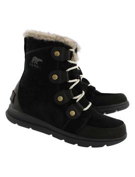 Women's Explorer Joan Black/Stone Wtpf Boots by Sorel