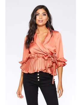 Rust Satin Wrap Peplum Frill Top by Quiz
