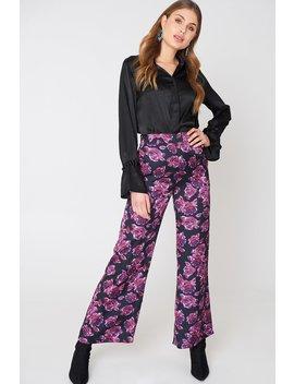High Waist Shiny Flared Pants Navy/Purple by Na Kd
