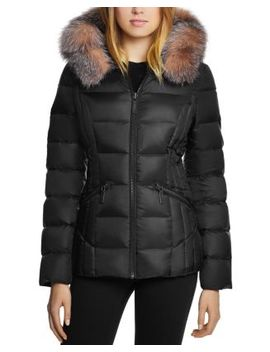 Nikki Saga Fur Trim Short Down Coat by Dawn Levy