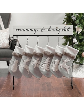 White Merry And Bright Christmas Stocking Holder by Kirkland's
