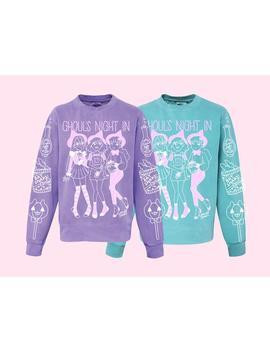 Ghoul's Night In Halloween Sweater, Witch, Snacks, Pastel, Kawaii, Cute, Fairy Kei, Party Kei, Yami Kawaii, Spooky, Geeniejay by Etsy