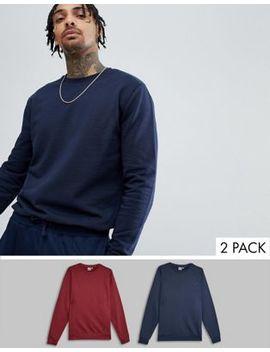 Asos Design Sweatshirt 2 Pack Navy/Burgundy by Asos Design