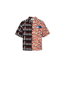 Kurzärmeliges Hemd Aus Baumwolle by Prada