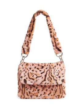 Teddy Leopard Print Faux Fur Shoulder Bag by Topshop