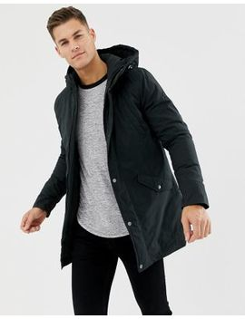 Pier One Padded Parka In Black With Hood by Pier One