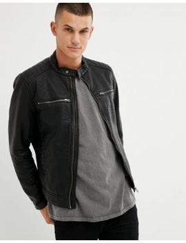 United Colors Of Benetton Faux Leather Biker Jacket by United Colors Of Benetton