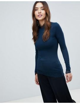 Y.A.S Lace Detail High Neck Top by Y.A.S.