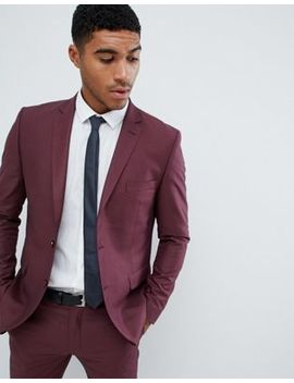 Boohoo Man Slim Fit Suit Jacket In Burgundy by Boohoo Man