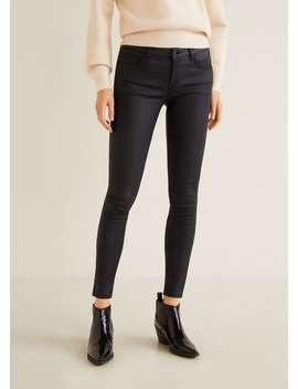 Deri Görünümlü Skinny Push Up Jean Pantolon by Mango