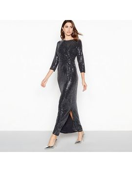 The Collection   Silver Sequin Stripe Maxi Dress by The Collection