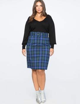 Plaid Column Skirt With Belt by Eloquii