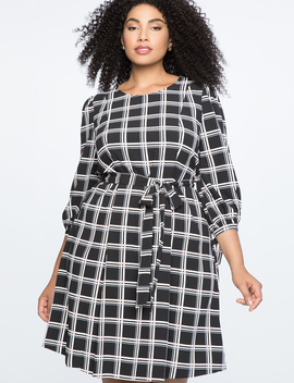 Tied Puff Sleeve Fit & Flare Dress by Eloquii