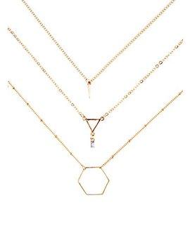 Happiness Boutique Collana Multifilo Geometrica In Oro | Collana 3 Catenine Con Pendente Senza Nickel by Happiness Boutique
