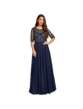 Ariella London   Navy 'chantal' Beaded Bodice Full Tulle Skirt Maxi Dress by Ariella London