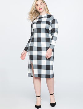 Gingham Shift Dress With Slit by Eloquii