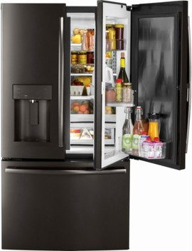 27.8 Cu. Ft. Door In Door French Door Refrigerator With Water And Ice Dispenser   Black Stainless Steel by Ge