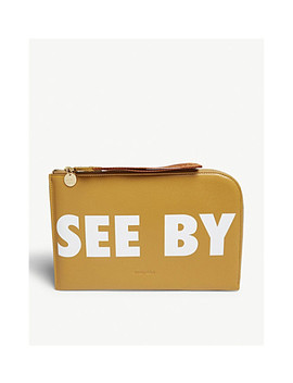 Logo Grained Leather Clutch by See By Chloe