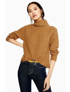 Super Soft Curve Hem Roll Neck Jumper by Topshop