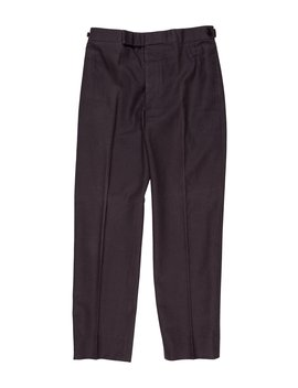 Grosgrain Accented Flat Front Pants by Thom Browne