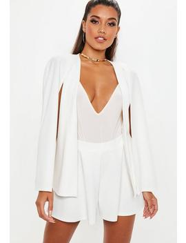 White Stretch Crepe Cape Blazer by Missguided