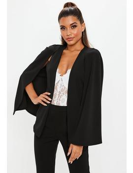 Black Stretch Crepe Cape Blazer by Missguided