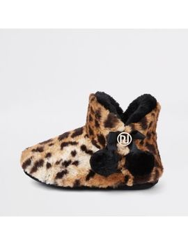 Brown Leopard Fluffy Pom Pom Bootie Slippers by River Island