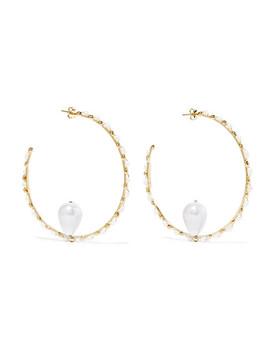 Ginger Gold Tone Pearl Hoop Earrings by Rosantica