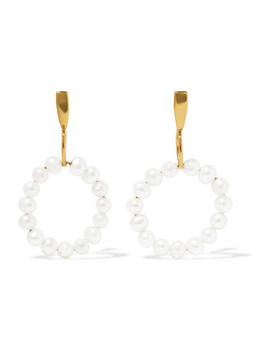 14 Karat Gold Plated Pearl Earrings by Natasha Schweitzer