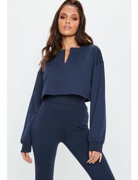 Navy Zip Front Crop Sweatshirt by Missguided