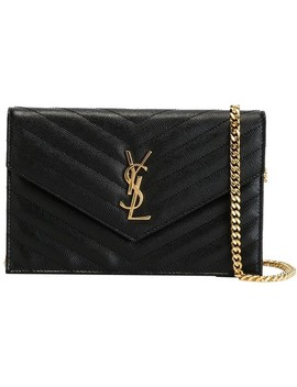 Chain Wallet Ysl Monogram Quilted Envelope Clutch Black/Gold Leather Cross Body Bag by Saint Laurent