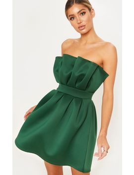 Emerald Green Bonded Scuba Ruffle Detail Skater Dress by Prettylittlething