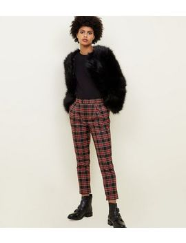 Black And Red Check Tapered Trousers by New Look