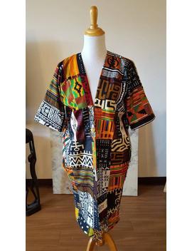 African Kente Kimono, African Print, Black, White, Orange, African Fabric, Ankara Kimono, African Clothing, Kente Cloth, Women's Clothing by Etsy
