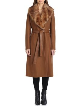 Wrap Coat With Genuine Lamb Fur Collar by Badgley Mischka