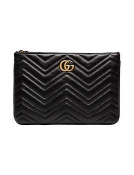 Black Chevron Quilted Leather Gg Clutch by Gucci