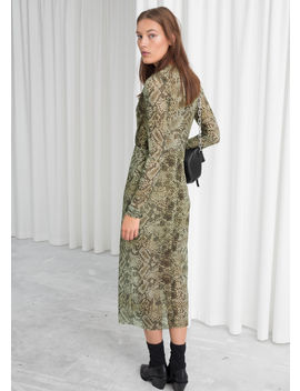 Snake Print Mesh Midi Dress by & Other Stories