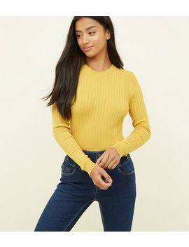Petite Mustard Crew Neck Ribbed Top by New Look
