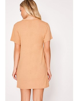 Basic Camel Jersey T Shirt Dress by In The Style